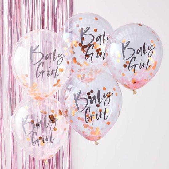 Pink Baby Girl Konfetti Balloner Festartikler