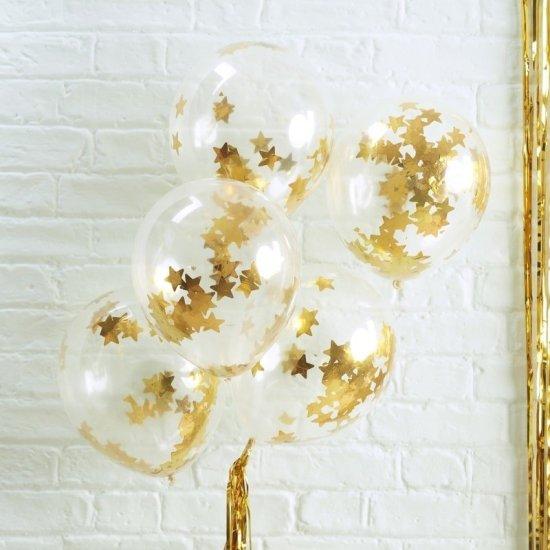 Konfetti Balloner, Guld Stjerner Festartikler