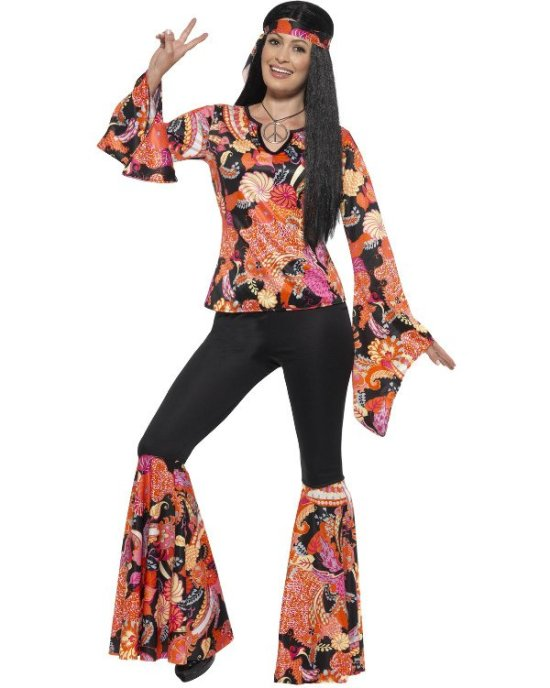 Hippie, Sort/Blomstret Kostumer